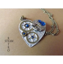 Clockheart Capri Blue Steampunk Necklace Steamretro