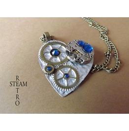 Clockheart Capri Blue Steampunk Necklace Steamretro