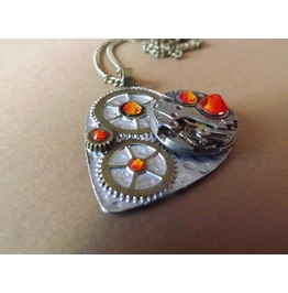 Clockheart Steampunk Silver Opal Necklace Steamretro