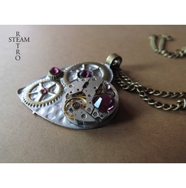 Clockheart Steampunk Silver Amethyst Necklace Steamretro