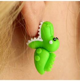Halloween Three-dimensional Piranha Green Crocodile Animal Earrings