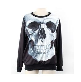 Big Skull Pattern Punk Style Black Hoodie