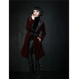 Gothic Style Punk Women Long Wind Coat Jacket