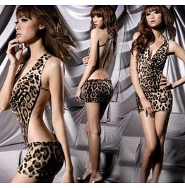 Sexy Slim Fitted Leopard Print Mini Dress