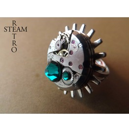 Voltaire Emerald Steampunk Ring Steamretro