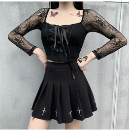22364P Sexy Street Lace Stitching Square Neck Tie Long Sleeve Top