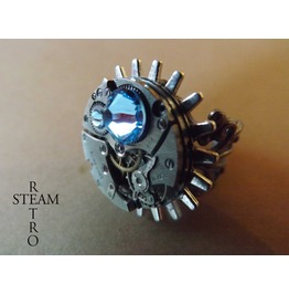 Steampunk Voltaire Aqua Marine Filigree Ring