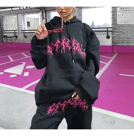Autumn/winter Printing New Hooded Sweater Women Black Round Neck Sweater