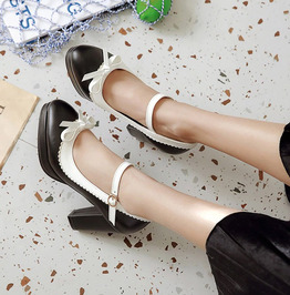 Butterfly Knot Buckle Strap Round Toe Heel