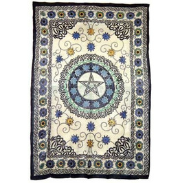 Floral Pentacle Full Size Tapestry