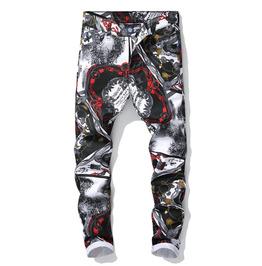 Streetwear Zipper Fly 3D Graffiti Ankle-Length Slim-Fit Denim Pants