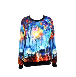 Oil Painting Pattern Hoodie Sweater