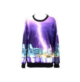 Lightning Scene Print Hoodie Sweater