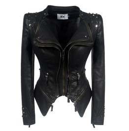 Autumn Rivet Slim Waist Waist Washed Leather Motorcycle Leather Jacket