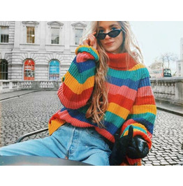 New Women's Color Striped Knitted Pullover Plus Size Sweater Coat