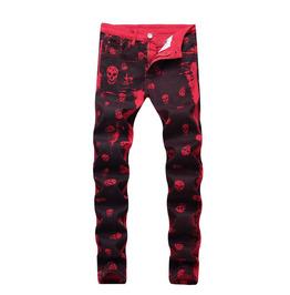 New Men's Jeans Red Skull Jeans Men's Casual Jeans