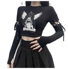 Punk Slim Navel T-shirt Women Lace Stitching Long-sleeved Top