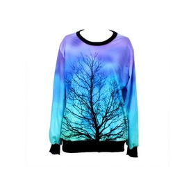 Galaxy Tree Print Hoodie Sweater
