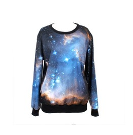 Galaxy Space Print Hoodie Sweater