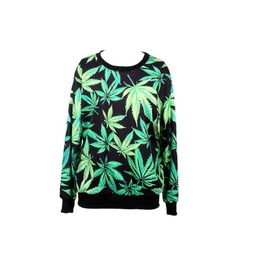 Green Leaf Print Hoodie Sweater