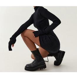 Autumn and Winter High-neck Slim Dress Drawstring Hip Skirt