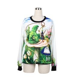 Alice Wonderland Print Fashion Hoodie Sweater