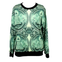 Cool Dollar Print Fashion Hoodie Sweater