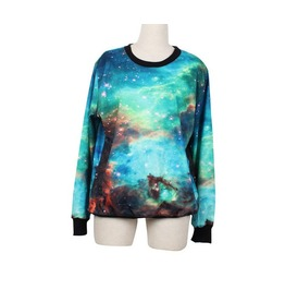 Green Galaxy Space Print Fashion Hoodie Sweater