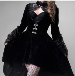 Retro Autumn/ Winter Gothic Lace Long Sleeve Lantern Sleeve Dress