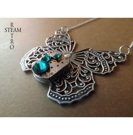 Clockwork Mariposa Butterfly Steampunk Necklace