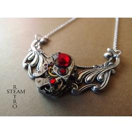Clockwork Pendant & Siam Swarovski Crystals
