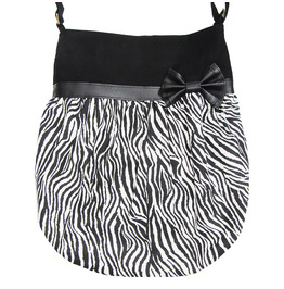 Black and White Zebra Print Black Bow Crossbody Tote Bag. Rockabilly.