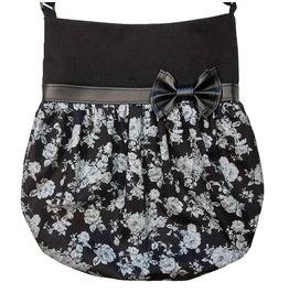 Black and Grey Flowers Faux Leather Bow Crossbody Tote Bag Loli Rockabilly