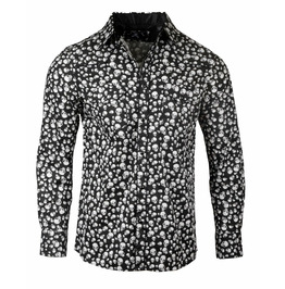 Skull Print Snap Button Shirt