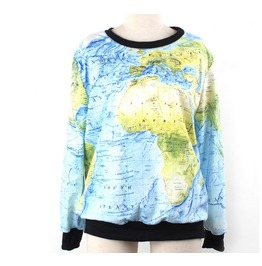 World Map Print Fashion Hoodie Sweater