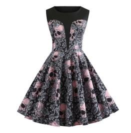 Summer New Retro Dress Printed Skull Puff Skirt
