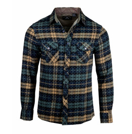 Streetwear Olive Button-Up Pocket Design Checkered Shirt