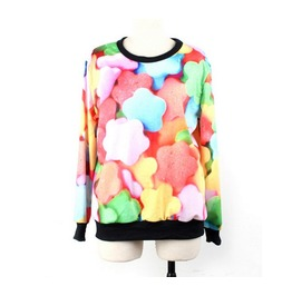 Color Candy Print Fashion Hoodie Sweater