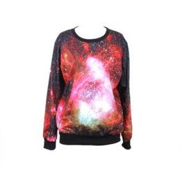 Sparkling Galaxy Space Print Fashion Funny Sweatshirts
