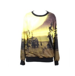 Ocean Beach Scenery Print Fashion Hoodie Sweater