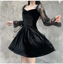 Punk Retro Lace Stitching Long-sleeved Dress