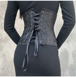 Retro Versatile Autumn/ Winter Black Pattern Waist Belt Becorset Waist Cove