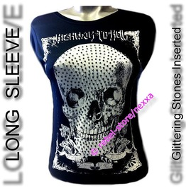 Long Sleeve Skull Skeleton Tattoo Printed Glittering Stones Inserted Tee T Shirt #Cd07