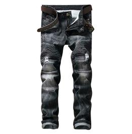 Punk Jeans Men's Pleated Slim Fit Straight Men's Jeans