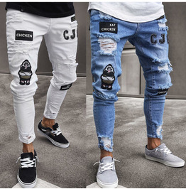 Punk Men's Skinny Jeans Patch Embroidered Perforated Motorcycle Leggings