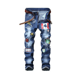 Men's Jeans Straight Elastic Patch Badge Perforated Men's Trousers