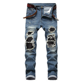 High Street Ripped Men's Slim Jeans Skinny Folded Locomotive Stretch Pants