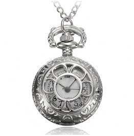 Antique Silver Floral Pop Open Pocket Watch W Chain