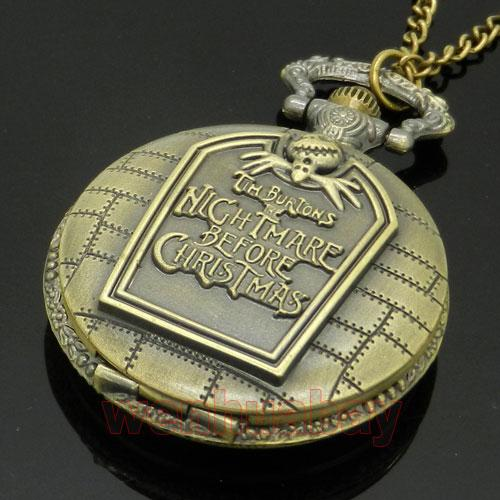 Nightmare Before Christmas Quartz Pocket Watch W Chain