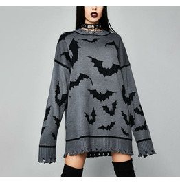 PUNK Women's Sweater Autumn New Pullover and Long Bat Tattered Sweater